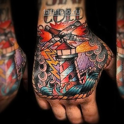 Old school style colored hand tattoo of big lighthouse with plane and lightning
