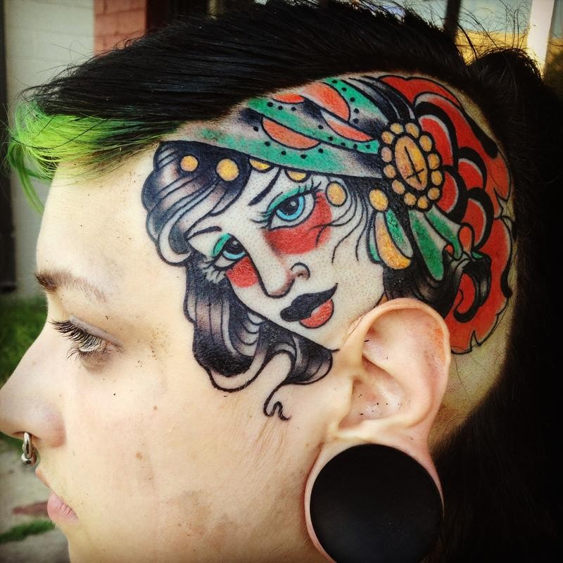Old school style colored head tattoo of gypsy woman with rose