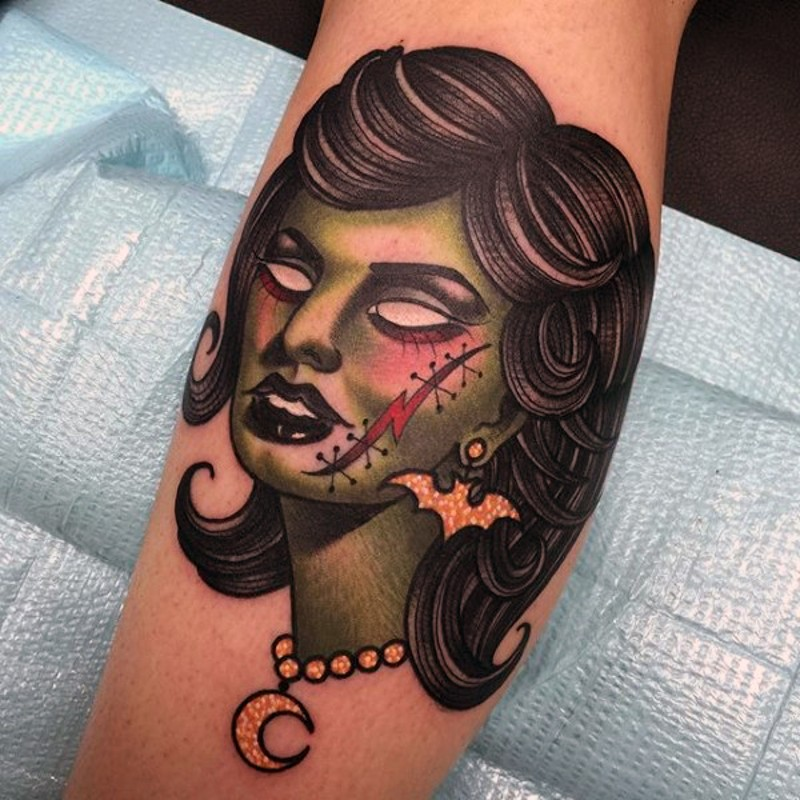 Old School Style Colored Leg Tattoo Of Zombie Woman