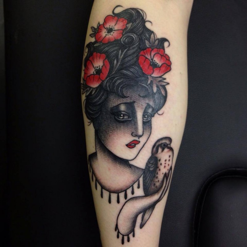 Old school style colored leg tattoo of sad woman with flowers