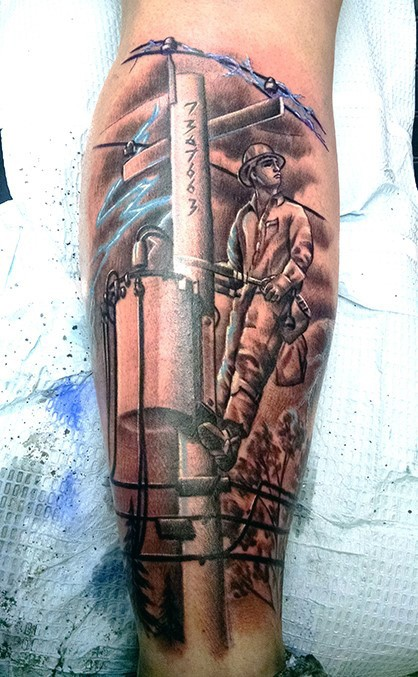 Old school style colored leg tattoo of vintage lineman