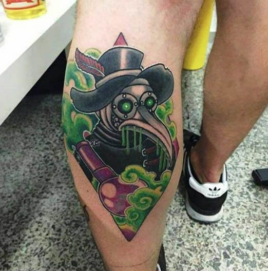 Old school style colored leg tattoo of mystical plague doctor with bulb