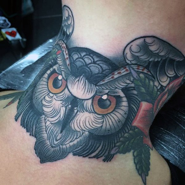 Old school style colored neck tattoo of evil owl