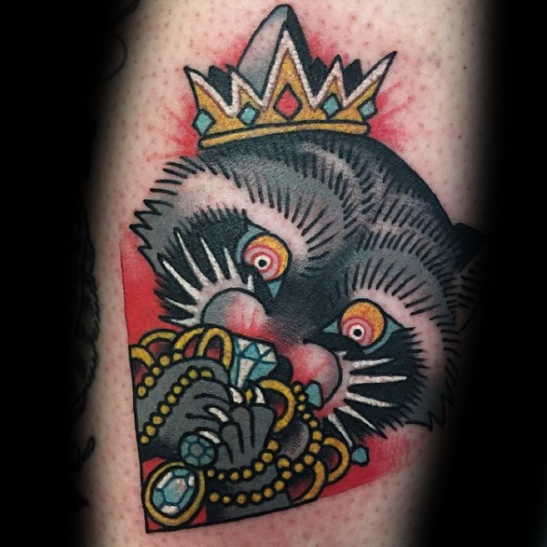 Old school style colored raccoon with crown and jewelry