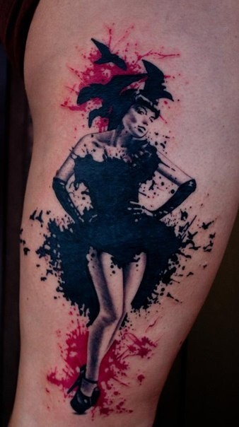 Old school style colored seductive woman with crows tattoo on thigh