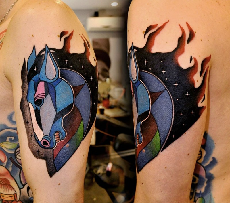 Old school style colored shoulder tattoo of horse with space