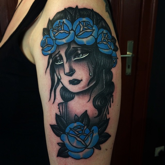 Old school style colored shoulder tattoo of crying woman with rose