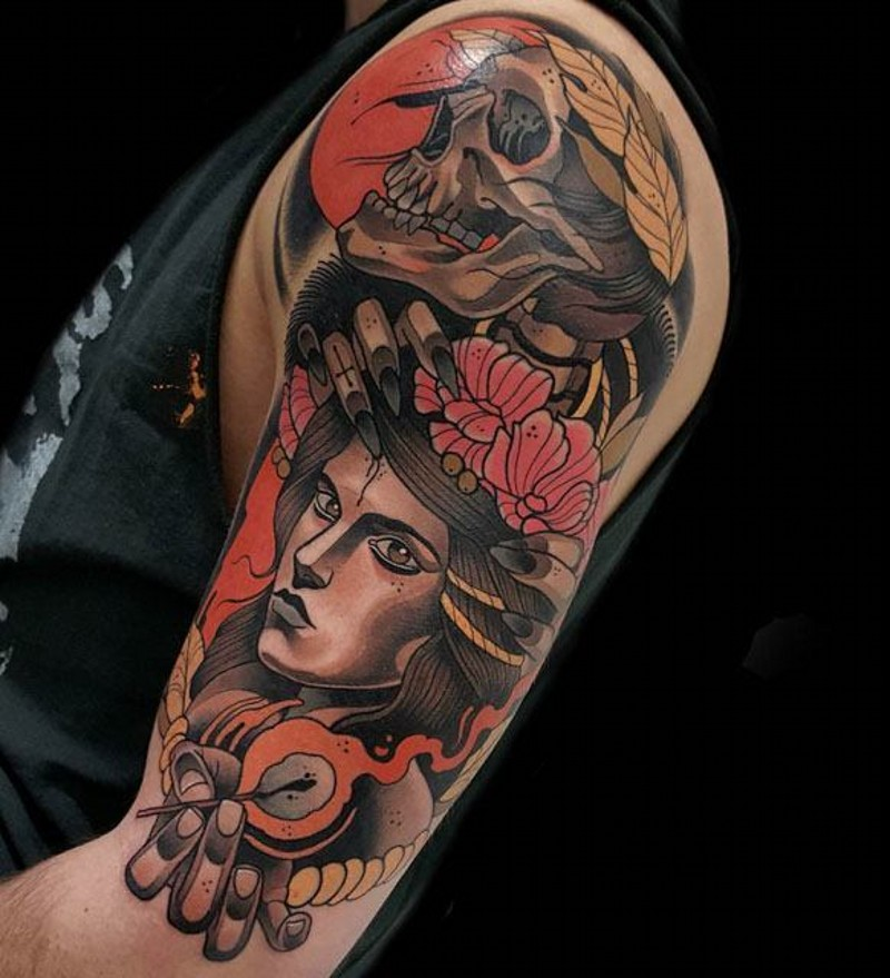 Old school style colored shoulder tattoo of mystical woman with flowers and skull