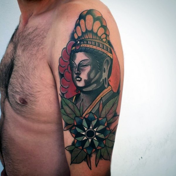 Old school style colored shoulder tattoo of Buddha statue with flowers
