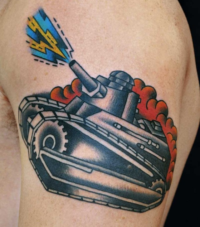 Old School Style Colored Shoulder Tattoo Of Little Tank