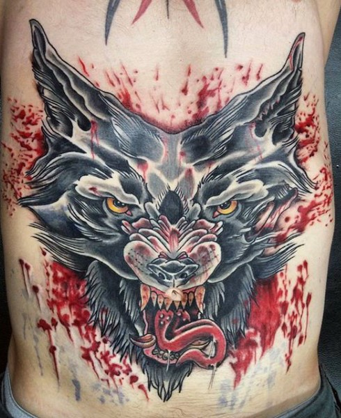 Old school style colored side tattoo of bloody wolf head