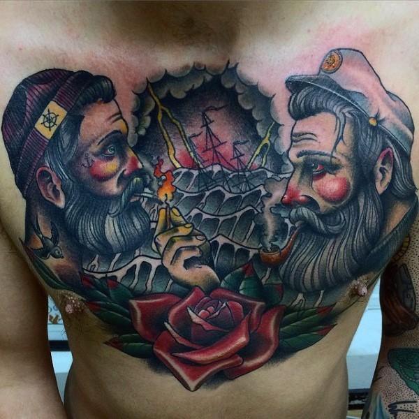 vecchia scuola stile colorato  due marinai fumando con nave e fiore tatuaggio su petto