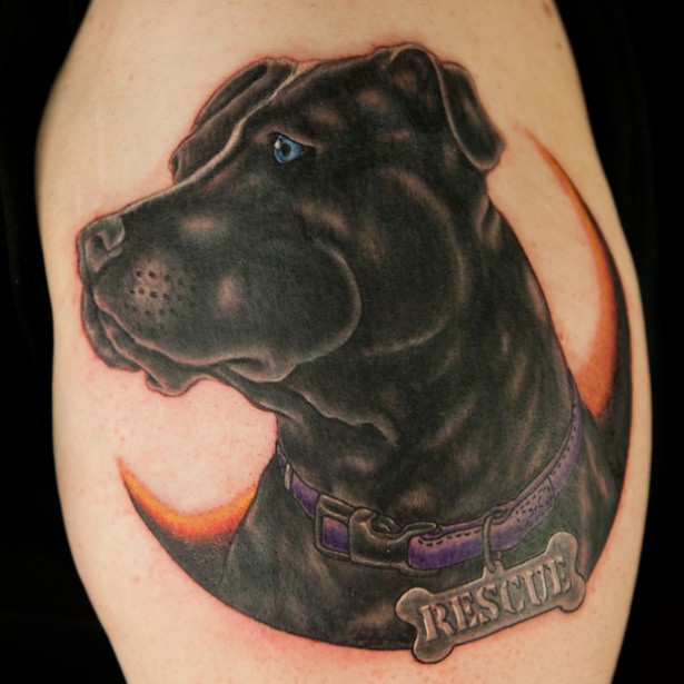 Old school style colored tattoo of cute dog with lettering