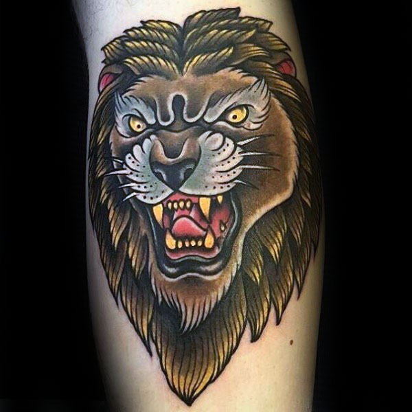 Old school style colored tattoo of evil lion