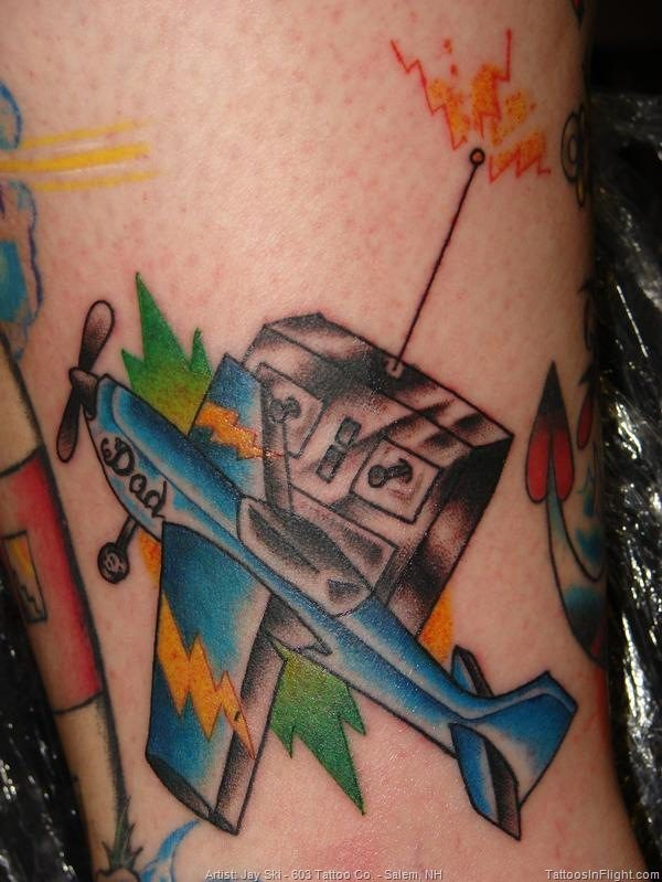 Old school style colored tattoo of little toy plane