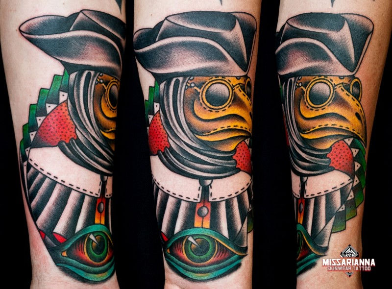 Old school style colored tattoo of mystical plague doctor with mystic eye