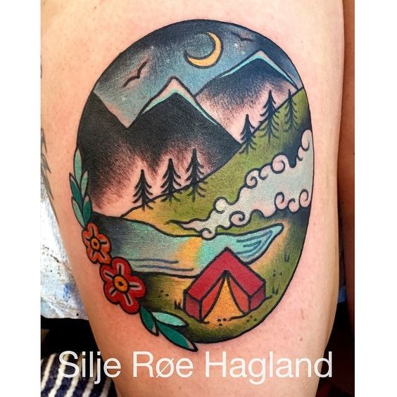 Old school style colored tattoo of night camping in mountains