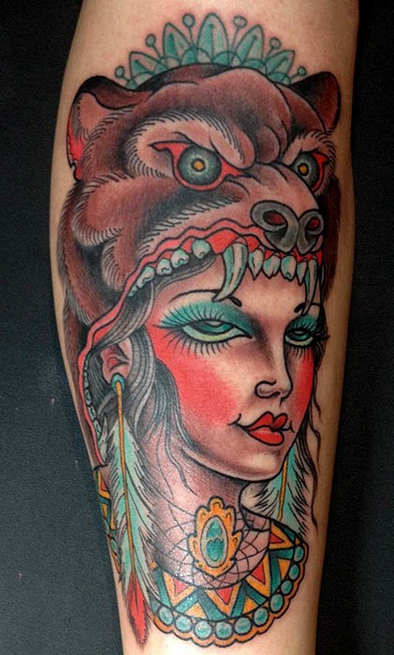 Old school style colored tattoo of tribal woman portrait for Tattoos on old skin