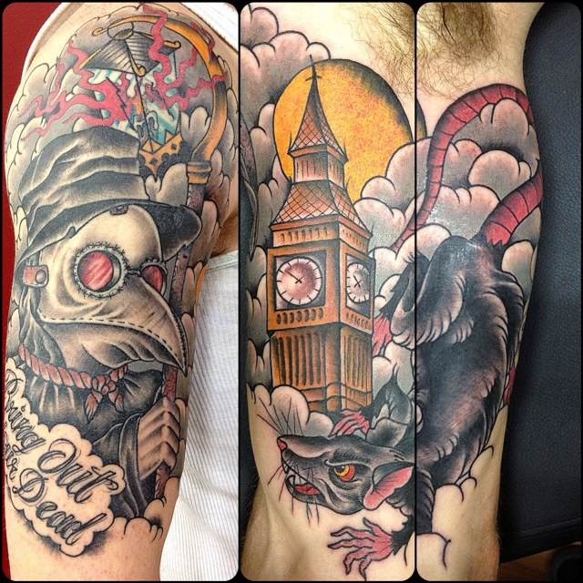 Old school style colored upper arm tattoo of plague doctor for Plague doctor tattoo