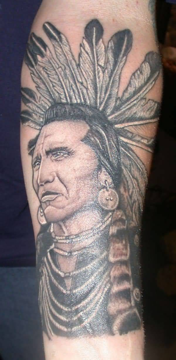 Old school style colored very detailed forearm tattoo of old Indian chief