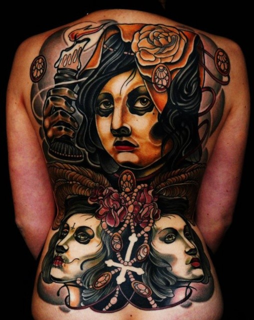 Old school style colored whole back tattoo of mystical woman with roses and candle