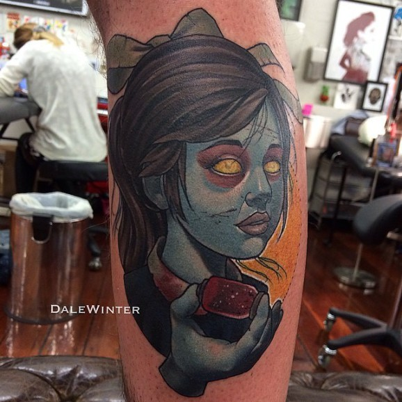 Old school style colored zombie girl portrait on leg