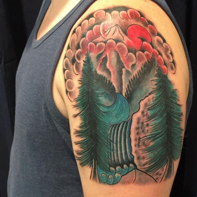 Old school style colorful shoulder tattoo of mountain river and forest