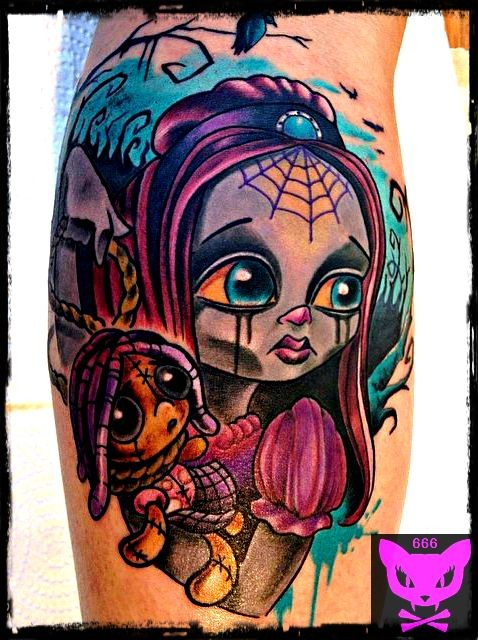 old school style cute colored little crying girl tattoo on leg with doll. Black Bedroom Furniture Sets. Home Design Ideas