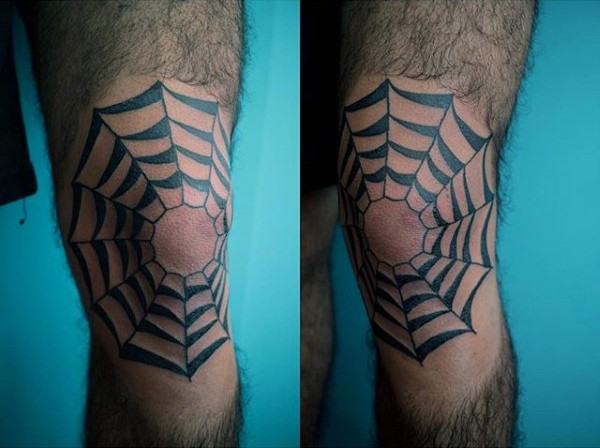 Old school style dark black ink spiderweb tattoo on knee