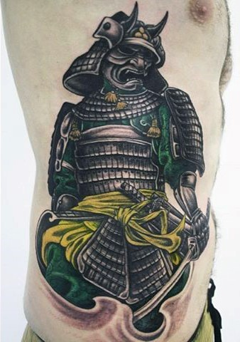 Old school style detailed colorful side tattoo of samurai warrior with sword