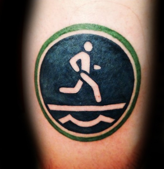 Old school style funny looking road sign tattoo