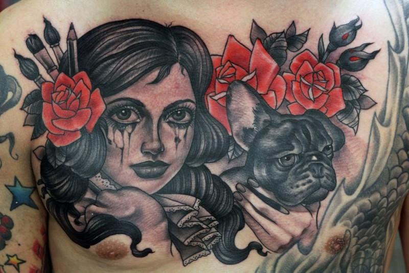 Old school style large colored crying woman tattoo on chest with dog and flowers