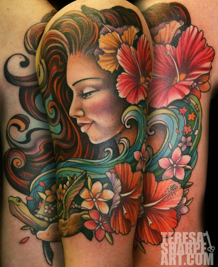 Old school style multicolored beautiful woman portrait tattoo stylized with various flowers