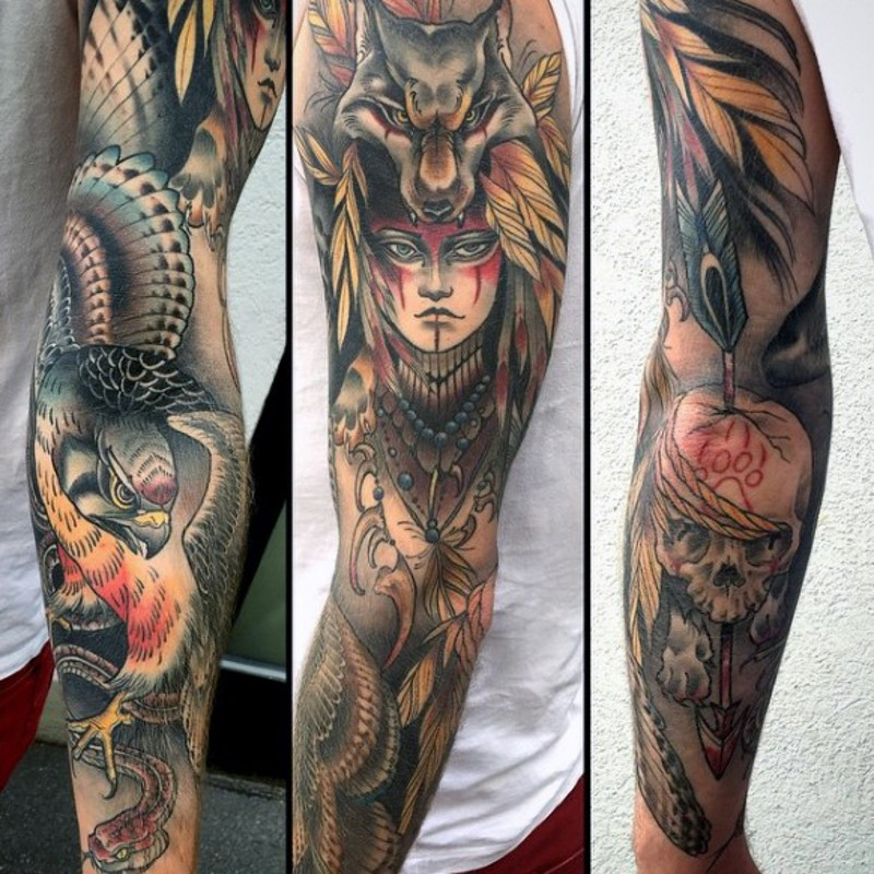 Old school style multicolored sleeve tattoo of tribal woman with eagles and snake