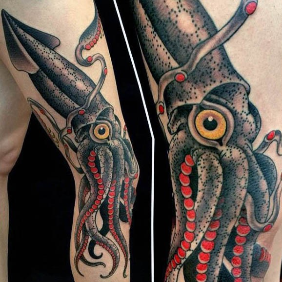 Old school style multicolored squid tattoo on arm