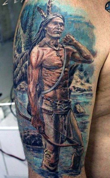 16d08bf33 Old school style painted and colored Indian warrior half sleeve tattoo
