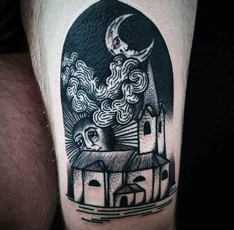 Old style black ink night city tattoo on thigh