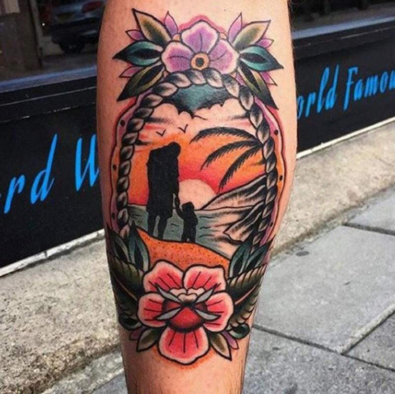 vecchio stile colorato disegno in oceano padre e figlio tatuaggio su gamba