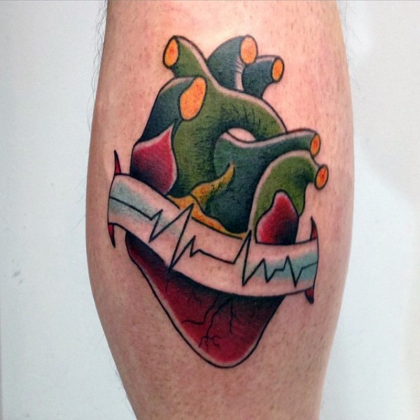 Old style colored heart with heart rhythm on banner tattoo