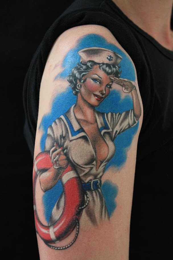 Old style colored vintage sexy pin up sailor girl tattoo on shoulder area