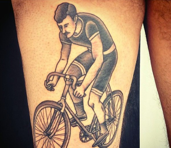 old style cyclist on cycle detailed realistic tattoo on thigh. Black Bedroom Furniture Sets. Home Design Ideas
