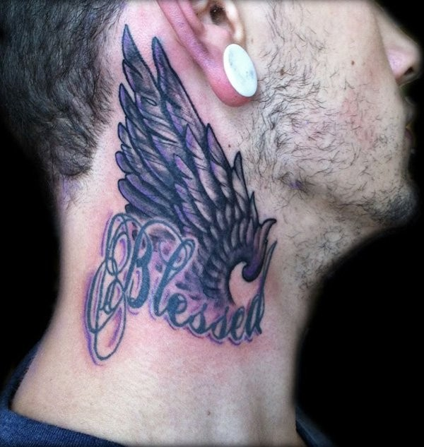 Old style feather wing and designed lettering Blessed neck tattoo