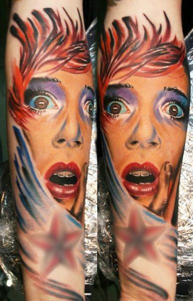 Old style multicolored realistic scared woman portrait tattoo on arm
