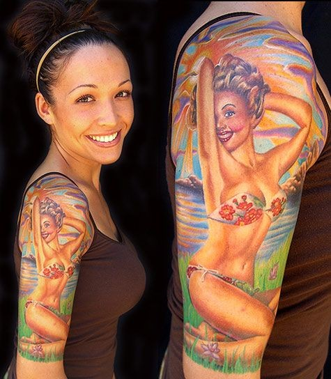 Old style painted seductive sexy girl tattoo on shoulder