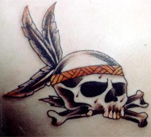 Oldschool tattoo with skull and bones