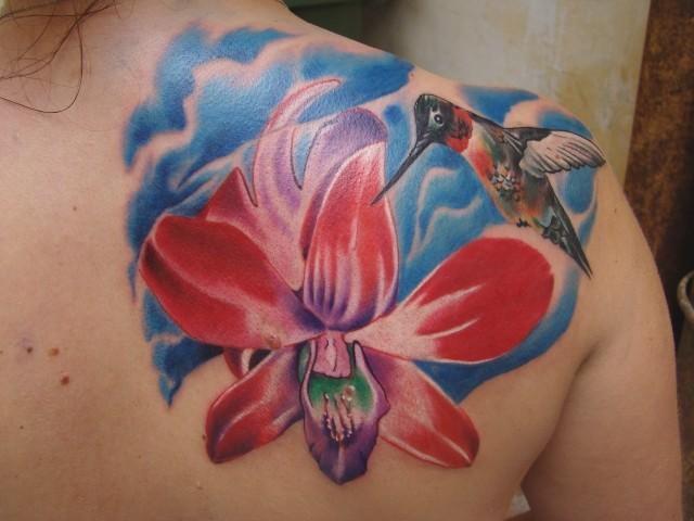 Orhideea and humminbird tattoo by scottytat