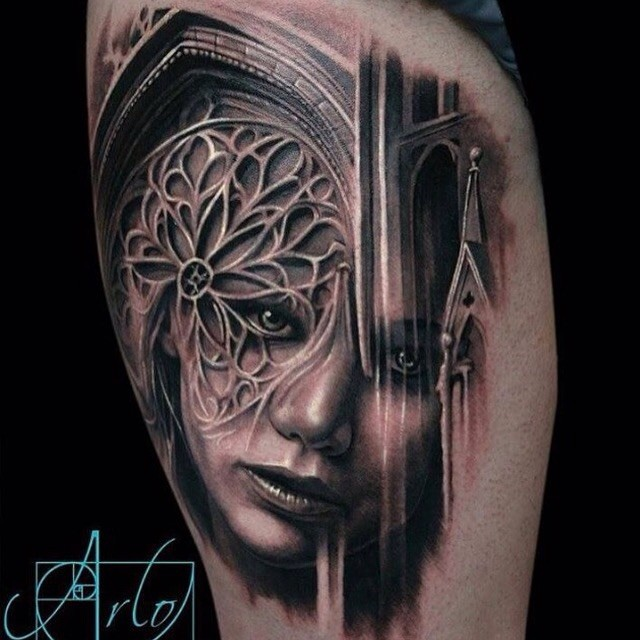 Original 3D like black ink antic cathedral tattoo combined with mystical woman portrait