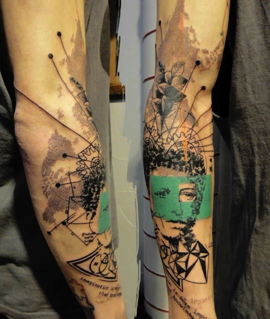 Original abstract style geometric tattoo with womans face on sleeve