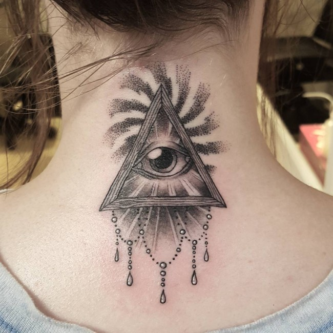 Original Baroque style black ink neck tattoo of mystical pyramid with eye