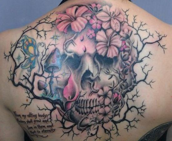 Original combined big colored skull with flowers and butterfly on back